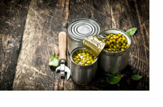 _FREE Canned green peas in a tin can with opener